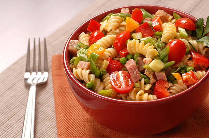 bigstock-Bowl-Of-Pasta-Salad-In-A-Red-B-1591541